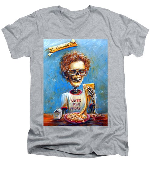 Men's V-Neck T-Shirt featuring the painting Mi Quesadilla by Heather Calderon