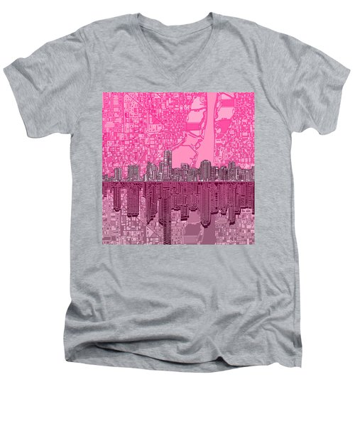 Miami Skyline Abstract 4 Men's V-Neck T-Shirt