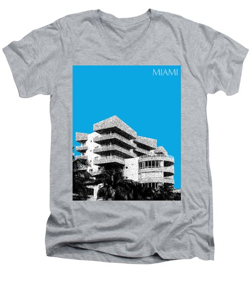 Miami Skyline Art Deco District - Ice Blue Men's V-Neck T-Shirt