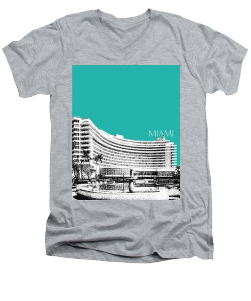 Miami Skyline Fontainebleau Hotel - Teal Men's V-Neck T-Shirt