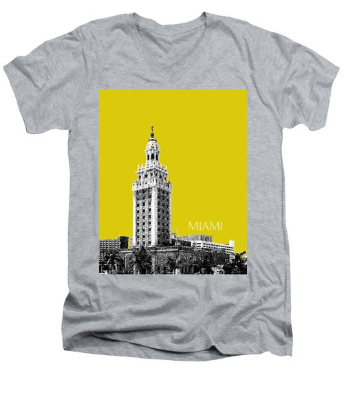 Miami Skyline Freedom Tower - Mustard Men's V-Neck T-Shirt