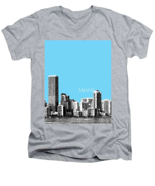 Miami Skyline - Sky Blue Men's V-Neck T-Shirt