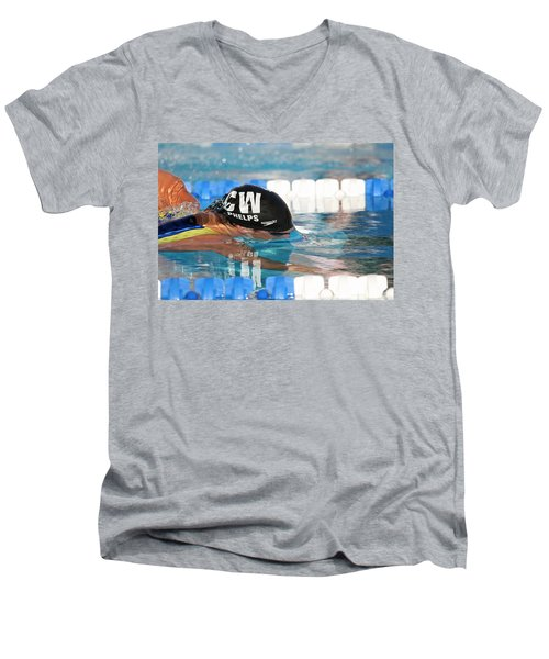Michael Phelps  Men's V-Neck T-Shirt by Duncan Selby