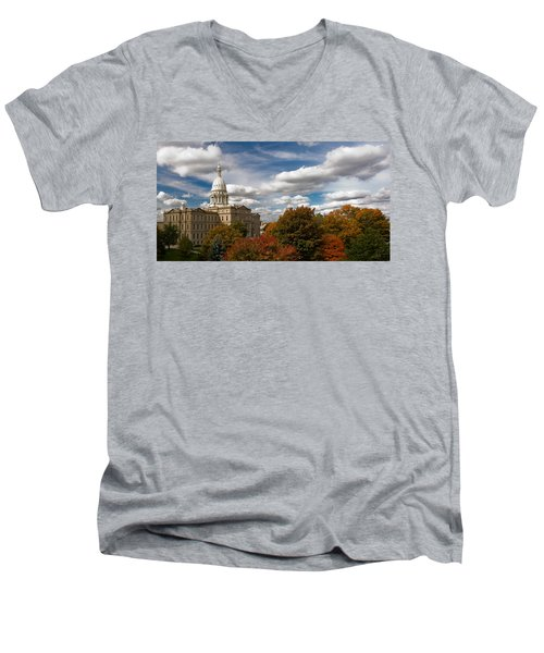 Men's V-Neck T-Shirt featuring the photograph Michgan Capitol - Autumn by Larry Carr
