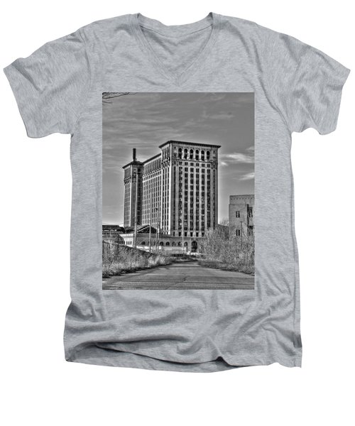 Michigan Central Station Men's V-Neck T-Shirt by Nicholas  Grunas