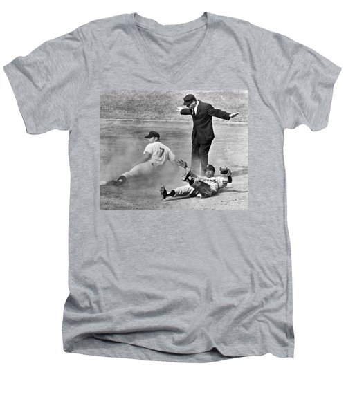Mickey Mantle Steals Second Men's V-Neck T-Shirt by Underwood Archives