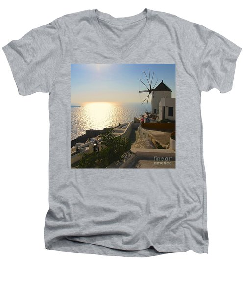 Midday On Santorini Men's V-Neck T-Shirt by Suzanne Oesterling