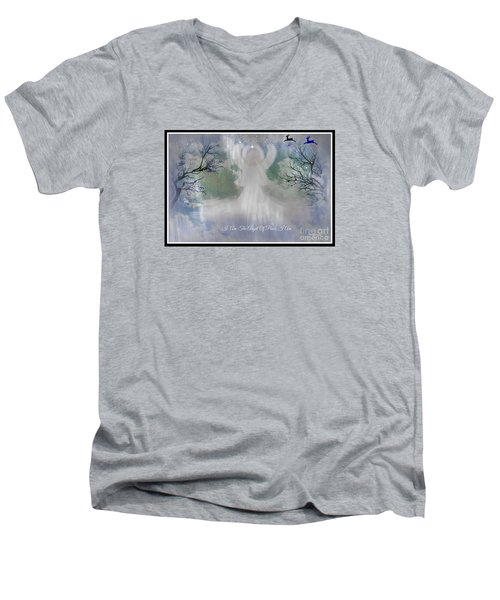 Men's V-Neck T-Shirt featuring the digital art Midnight Angel Of Peace by Sherri  Of Palm Springs