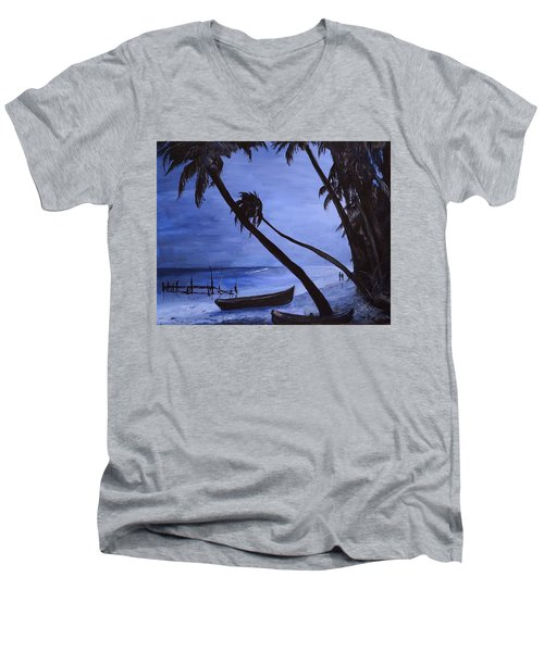 Men's V-Neck T-Shirt featuring the painting Midnight Stroll In Paradise by Alan Lakin