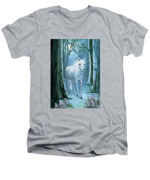 Men's V-Neck T-Shirt featuring the painting Midsummer Dream by Terry Webb Harshman