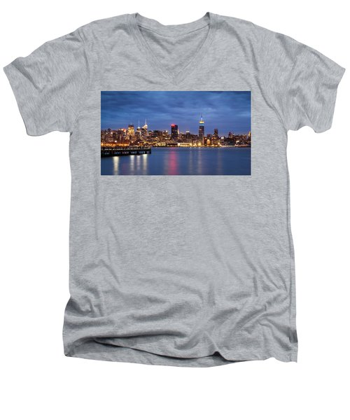 Midtown Manhattan Men's V-Neck T-Shirt by Mihai Andritoiu