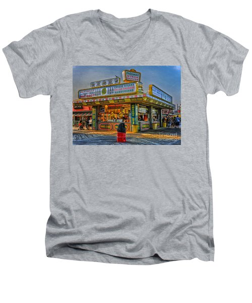 Men's V-Neck T-Shirt featuring the photograph Midway Steak House by Debra Fedchin