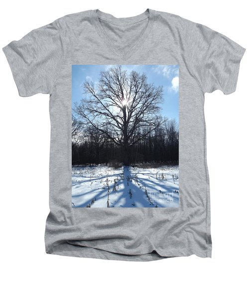 Mighty Winter Oak Tree Men's V-Neck T-Shirt