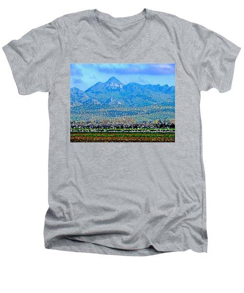 Migrating Birds Over Sutter Wilflife Refuge Men's V-Neck T-Shirt
