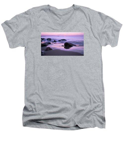 Millennium Sunrise Singing Beach Men's V-Neck T-Shirt by Michael Hubley