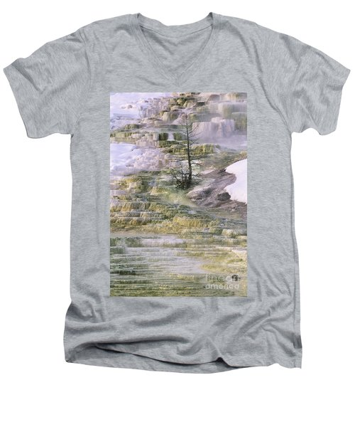 Men's V-Neck T-Shirt featuring the photograph Minerva Springs Terraces Yellowstone National Park by Dave Welling