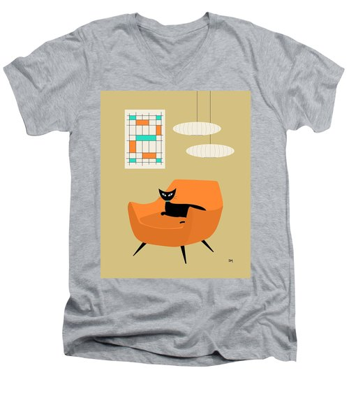 Mini Abstract With Orange Chair Men's V-Neck T-Shirt