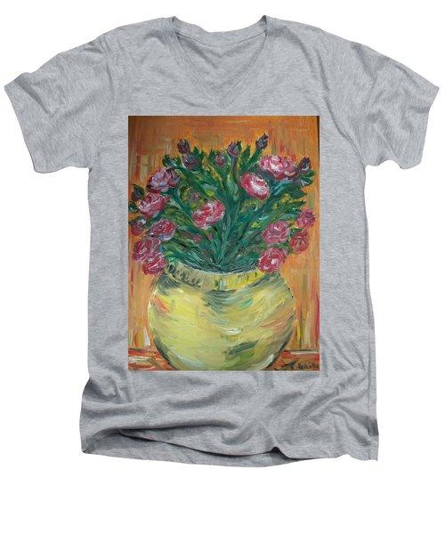 Men's V-Neck T-Shirt featuring the painting Mini Roses by Teresa White