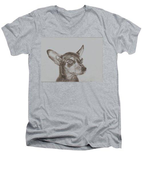 miniature pinscher Tronter Men's V-Neck T-Shirt