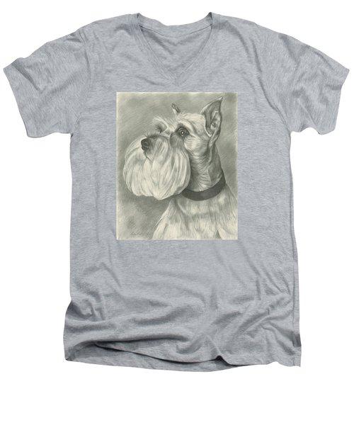 Miniature Schnauzer Men's V-Neck T-Shirt by Lena Auxier