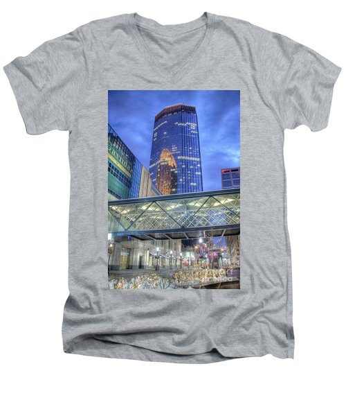 Minneapolis Skyline Photography Nicollet Mall Winter Evening Men's V-Neck T-Shirt