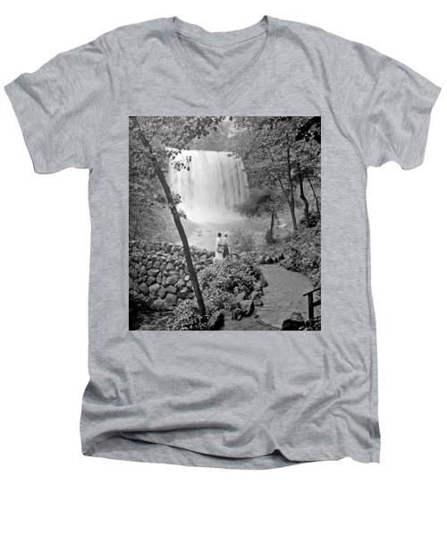Men's V-Neck T-Shirt featuring the photograph Minnehaha Falls Minneapolis Minnesota 1915 Vintage Photograph by A Gurmankin