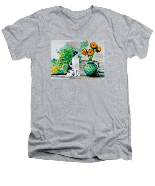Da129 Miss Kitty Daniel Adams Men's V-Neck T-Shirt