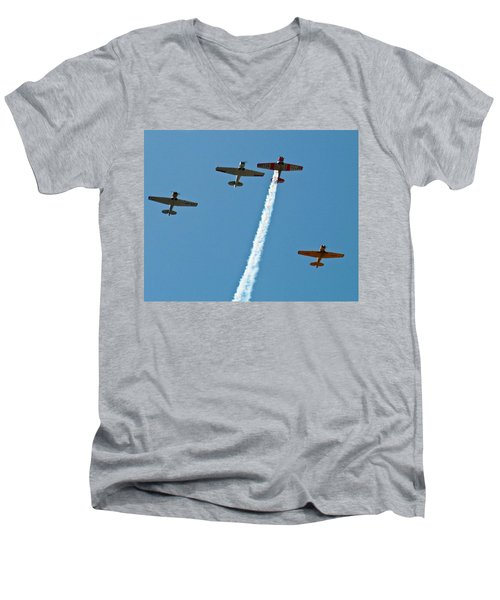 Men's V-Neck T-Shirt featuring the photograph Missing Man Flyover by Allen Sheffield