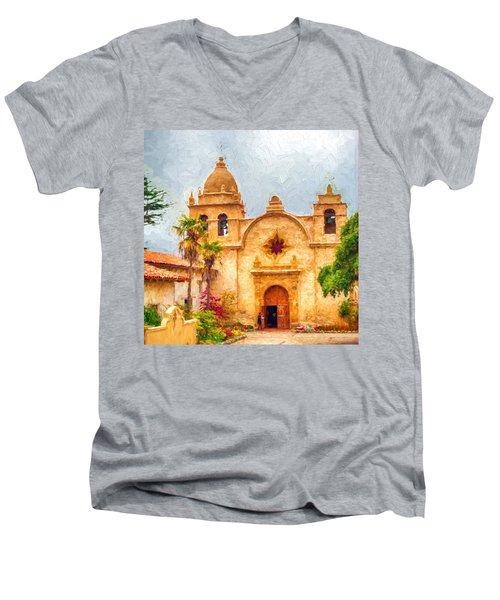 Mission San Carlos Borromeo De Carmelo Impasto Style Men's V-Neck T-Shirt