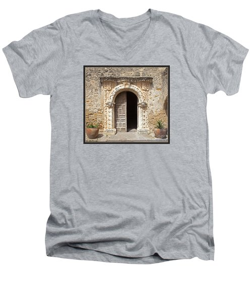 Mission San Jose Chapel Entry Doorway Men's V-Neck T-Shirt