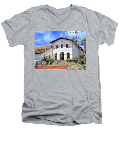 Mission San Luis Obispo De Tolosa Men's V-Neck T-Shirt by Dominic Piperata