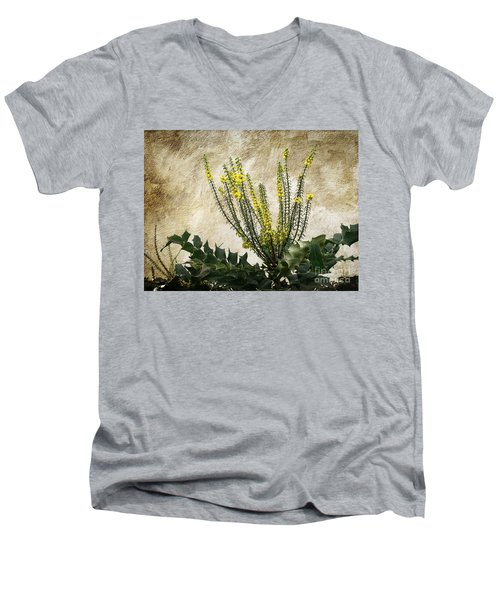 Men's V-Neck T-Shirt featuring the photograph Mission Wallflower by Ellen Cotton