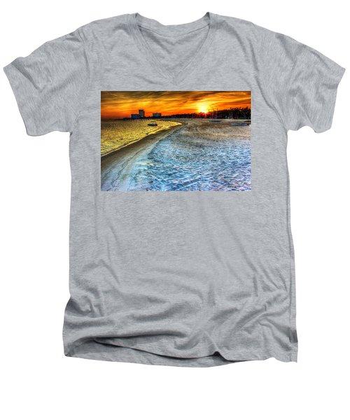 Beach - Coastal - Sunset - Mississippi Gold Men's V-Neck T-Shirt