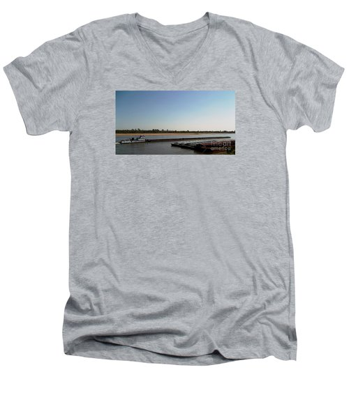 Men's V-Neck T-Shirt featuring the photograph Mississippi River Barge by Kelly Awad