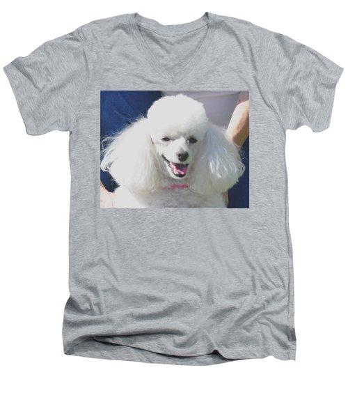 Missy White Poodle Men's V-Neck T-Shirt by Jay Milo