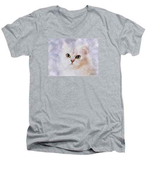 Men's V-Neck T-Shirt featuring the mixed media Mistletoe  by Morag Bates