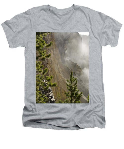 Misty Canyon  Men's V-Neck T-Shirt by Tara Lynn