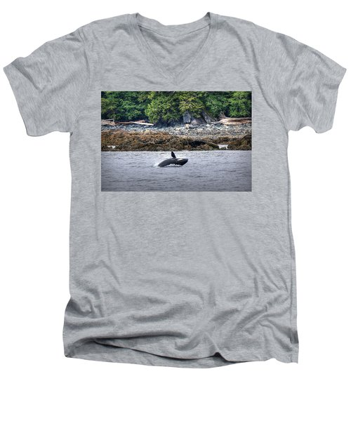 Misty Fjords Orca Men's V-Neck T-Shirt