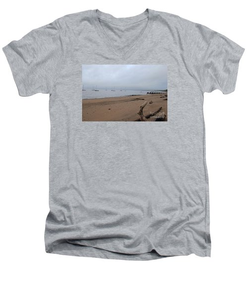 Men's V-Neck T-Shirt featuring the photograph Misty Harbor by David Jackson