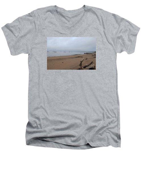 Misty Harbor Men's V-Neck T-Shirt by David Jackson