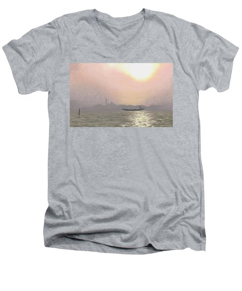 Men's V-Neck T-Shirt featuring the painting Misty Lagoona 34 X 47 by Michael Swanson