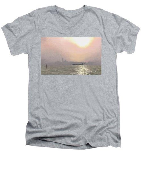 Misty Lagoona 34 X 47 Men's V-Neck T-Shirt by Michael Swanson