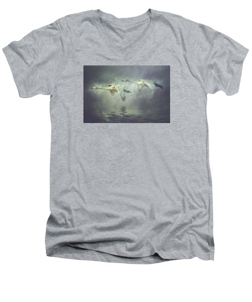 Misty Moon Shadows Men's V-Neck T-Shirt by Brian Tarr