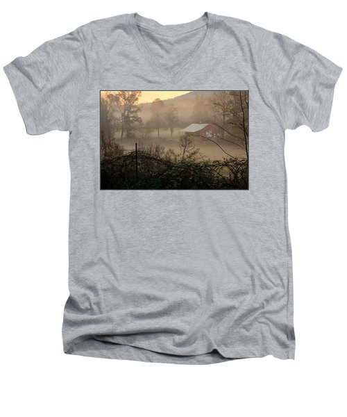 Misty Morn And Horse Men's V-Neck T-Shirt by Kathy Barney