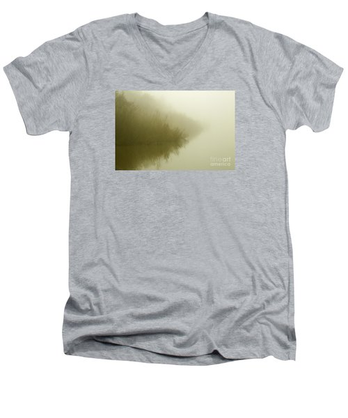 Misty Morning Reflection. Men's V-Neck T-Shirt