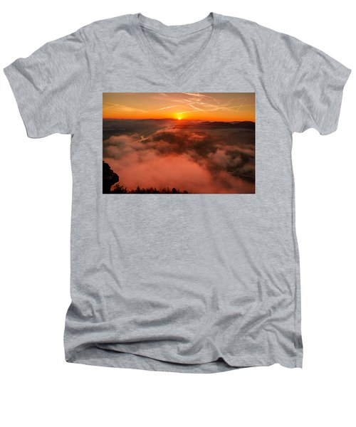 Misty Sunrise On The Lilienstein Men's V-Neck T-Shirt