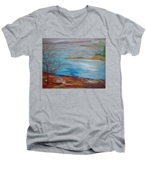 Men's V-Neck T-Shirt featuring the painting Misty Surry by Francine Frank