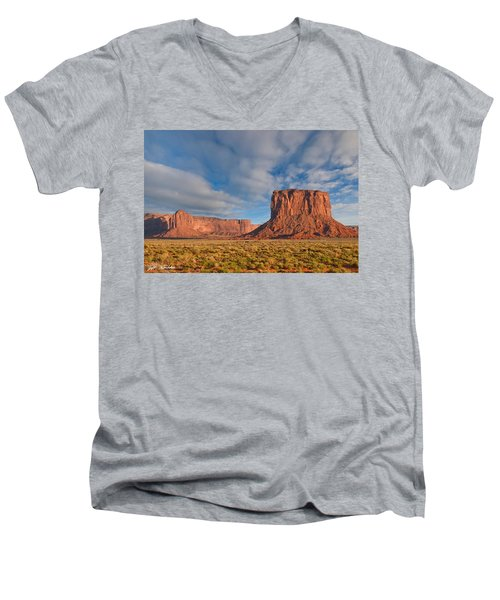 Mitchell Butte And Gray Whiskers In The Evening Light Men's V-Neck T-Shirt by Jeff Goulden