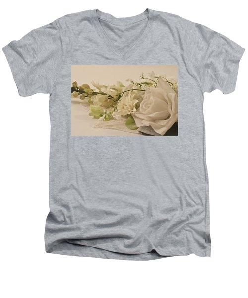 Men's V-Neck T-Shirt featuring the photograph Many White Flowers  by Sandra Foster