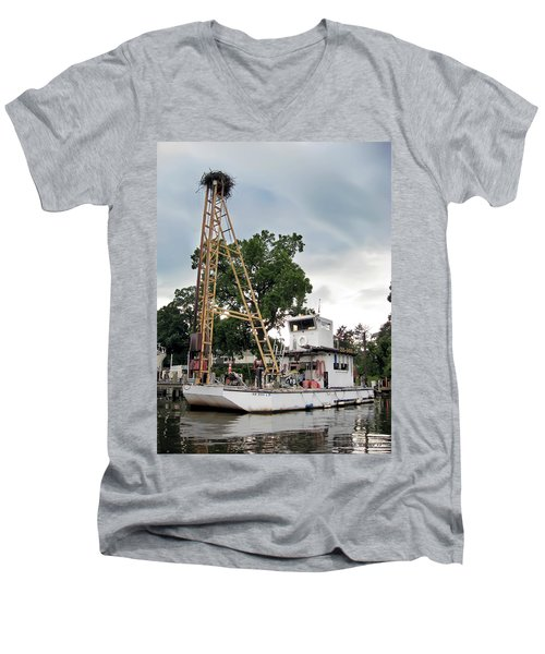 Men's V-Neck T-Shirt featuring the photograph Mobile Osprey Nest by Brian Wallace